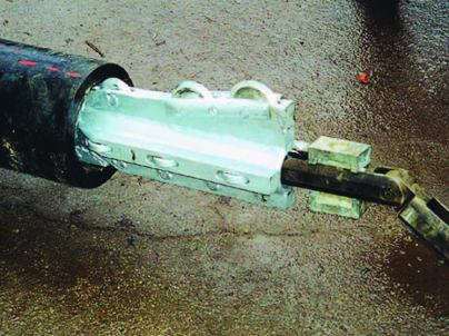This is one of several standard cutter heads used in static bursts. It can be used for both fractable and nonfractable pipes. (Photo provided)