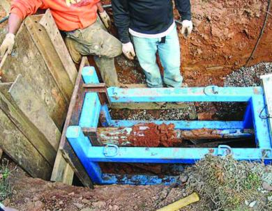 The new PCV comes into the receiving pit. (Photo provided)
