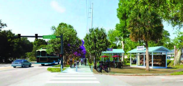 Among the ideas generated by residents to improve utilization of Folly Road were: making it more convenient to reach the beach, upgrading transit, adding covered shelters and creating new connections between adjacent properties and the road. (Image provided)