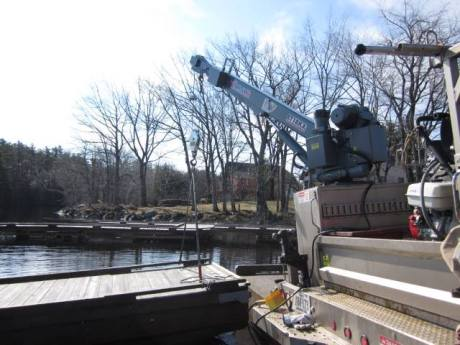 Powers has been able to diagnose and service the crane himself, which has held up well in the harsh weather conditions of Maine. (Photo provided)