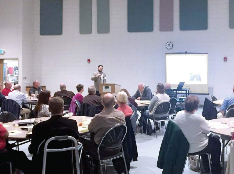 Chris Myres, economic development specialist with Sioux City, presents a MLA Part Three session in Cherokee, Iowa, on economic development. (Photo provided)
