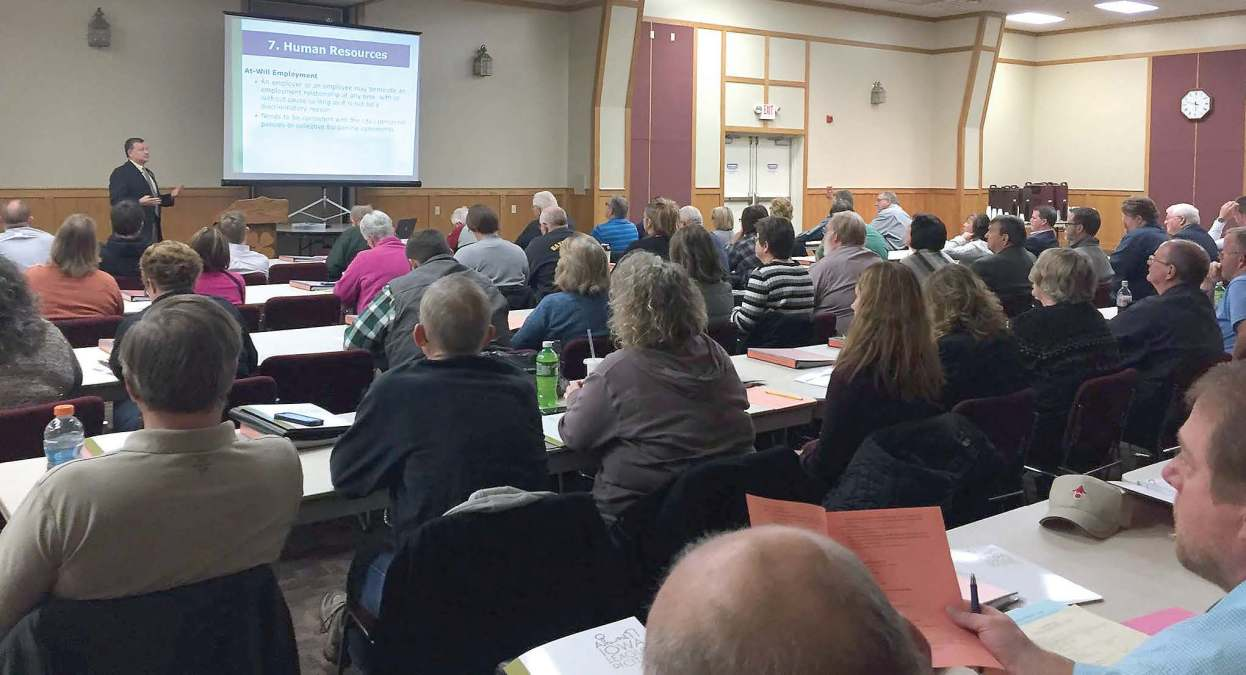 Newly elected mayors, city council members, city clerks and city administrators gain an understanding of budget and fi nance, eff ective city councils, municipal operations and ethics at a Municipal Leadership Academy Part One session in Atlantic, Iowa. (Photo provided)
