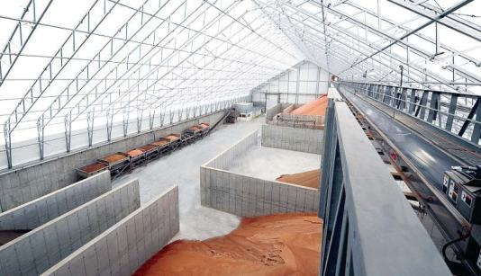 Temporary structures are popular options for storing commodities like sand and salt; this prevents runoff that could create an environmental disaster. (Photo provided by Calhoun)