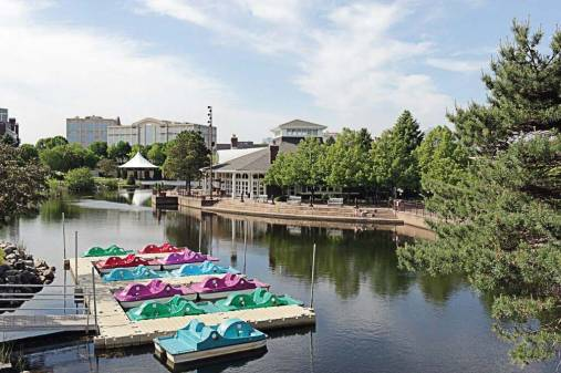 Centennial Lakes Park is a popular Edina destination in the summertime, with its paddleboat rentals, fishing, remote-control sailboat races, maze and more. (Provided by city of Edina)