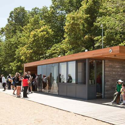 In addition to expanding the beach, environmentally friendly educational and recreational buildings were added to Rosewood Beach; they are all connected with a 1,500-foot-long boardwalk. (Photo provided by Park District of Highland Park)
