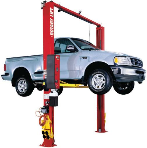 Rotary Lift's Shockwave-equipped SPO10 two-post lift is twice as fast as other light-duty lifts. (Photo provided)