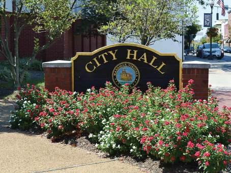 The entranceway to Manassas City Hall is monitored for any possible tripping hazards. (Photo provided)