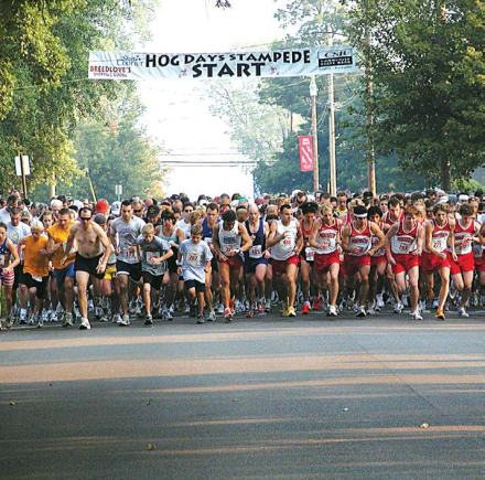 Hundreds of runners participate in the annual Hog Days Stampede Health and Fitness Run. (Photo provided by Larry Flannery)