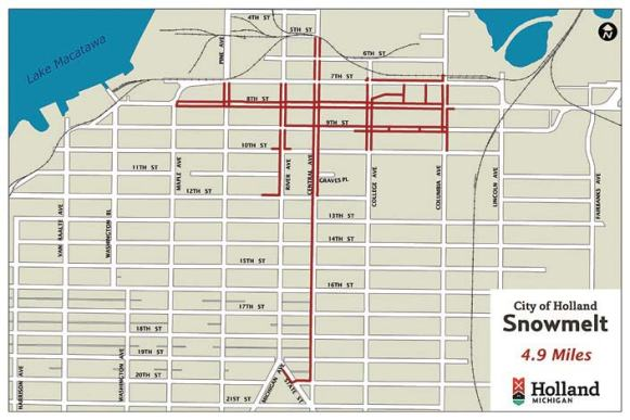 This is the map of the areas served by the snowmelt system in downtown Holland, Mich., which now encompasses 4.9 miles. (Graphic provided by Holland, Mich.)