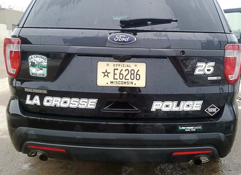 Special decals on the retrofitted La Crosse squad cars highlight the police department's efforts to be environmentally friendly and save money. The city of La Crosse as a whole has a big commitment to the environment, which guided the police department's decision to retrofit its squad cars using bi-fuel propane conversion kits. (Photo provided)
