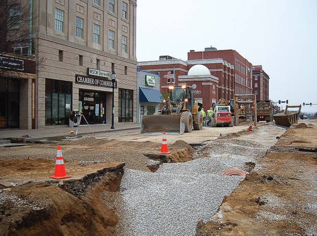 Tearing up the downtown area proved to be one of the most challenging aspects of Henderson's combined sewer systems separation project; however, the end result has sparked economic development while eliminating sewer odor. (Photo provided)