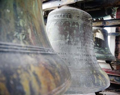 Pictured are just three of Norwood's 50 bells that are located in its carillon tower. The tower underwent extensive repairs during the town hall renovation project to ensure this landmark remained in the community for years to come. (Photo provided by Compass Project Management)