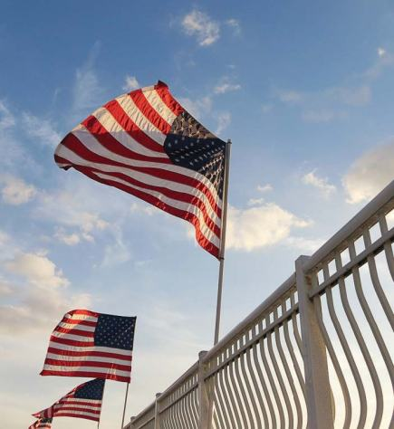 "Punta Gorda takes pride in its patriotism and was even ranked No. 14 on Business Insider's 2014 list of ""The 25 Most Patriotic Cities in the U.S."" Pictured are flags at Laishley Park. (Photo provided by Punta Gorda)"