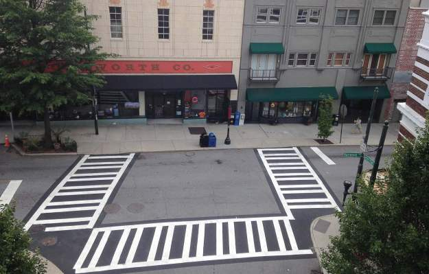 Asheville, N.C., installed a high-intensity ladder-style crosswalk that increases visibility and improves safety in a highpedestrian area of the city. (Photo provided by Asheville, N.C.)