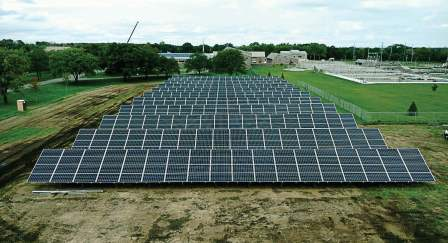 Pictured is a 220 kW solar array located at the wastewater treatment facility in St. Cloud, Minn. Working directly and communicating with power providers will make headway toward resilient utilities. (Photo provided)