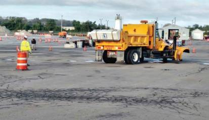 """Pictured is snowplow operator training. Notice the truck has a wing on. Wiese said, """"Our plow roadeo truck has no wing and two participants. As we move into future roadeos, we may incorporate wings to the trucks and only have the driver in truck during the course. That is more real-to-life plowing for snowfighters."""" (Photo provided by West Des Moines, Iowa)"""