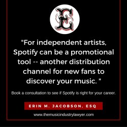 spotify independent artist music attorney music lawyer los angeles erin m jacobson esq