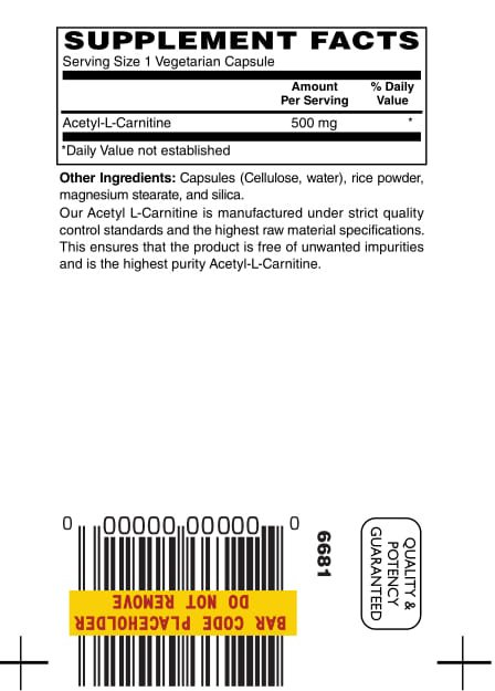 Acetyl L Carnitine 500mg 30ct 1 1