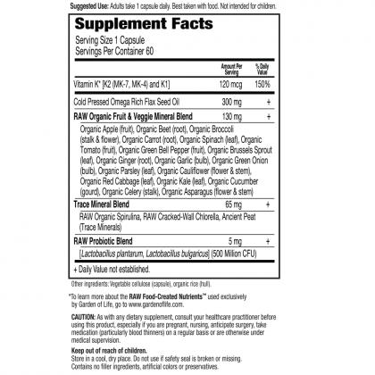 Vitamin Code Raw K Complex Back