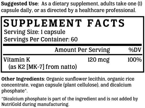 Vitamin k2 and mk 7 Back