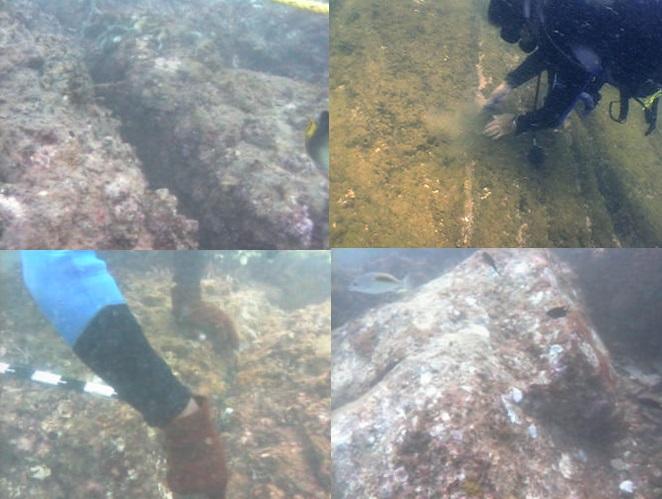 Remains of underwater structures off Mahabalipuram