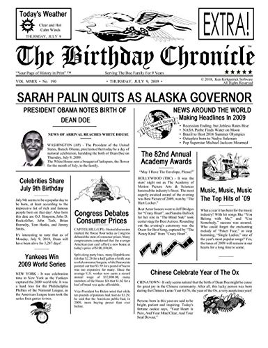 Newspaper from the day you were born.