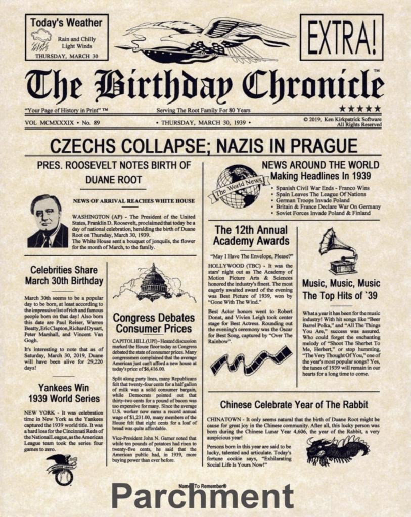printable birthday newspaper gift idea