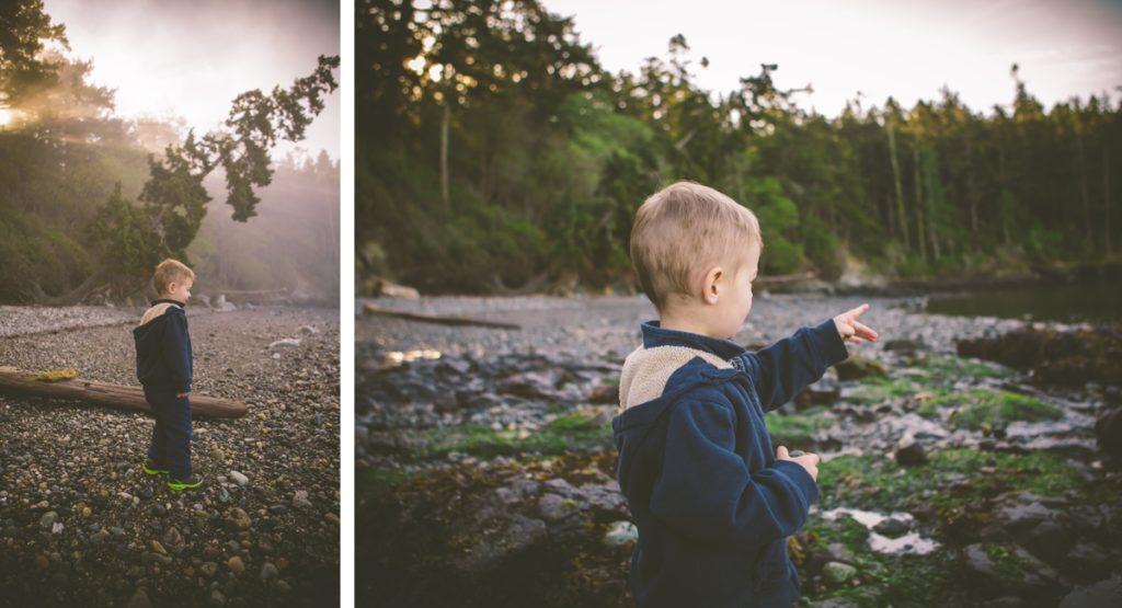little boy by the lake