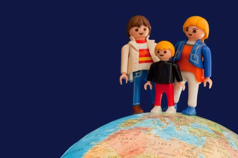lego family on globe