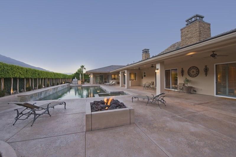 backyard pool and fire pit