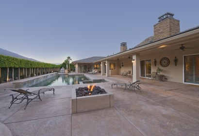 backyard pool and fire pit