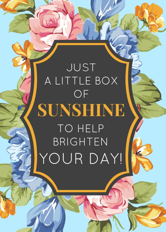 Box of Sunshine Free Printable