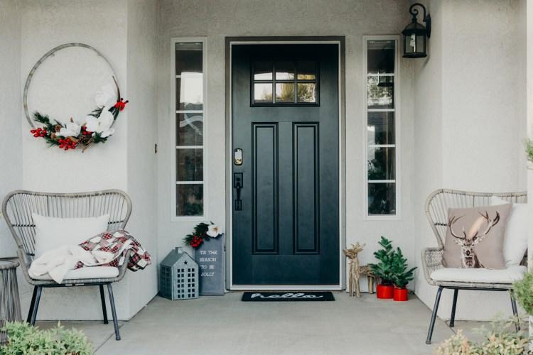 Christmas Front Porch Ideas - Black Farmhouse Front Door