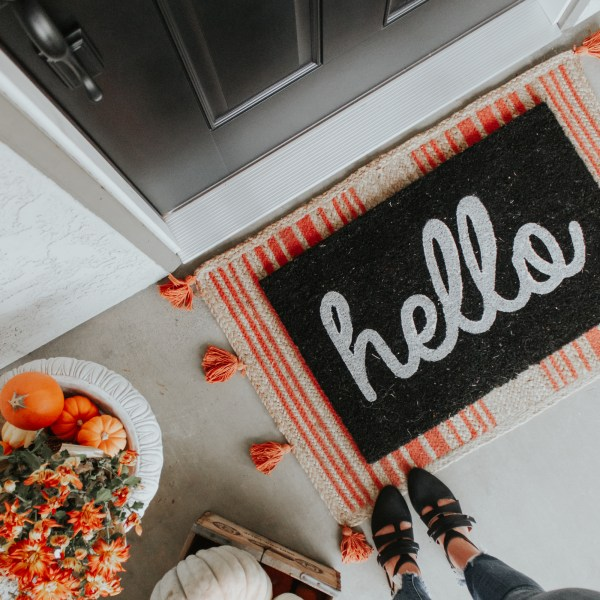 Fall Front Porch Decor Ideas + Farmhouse Style Door Reveal