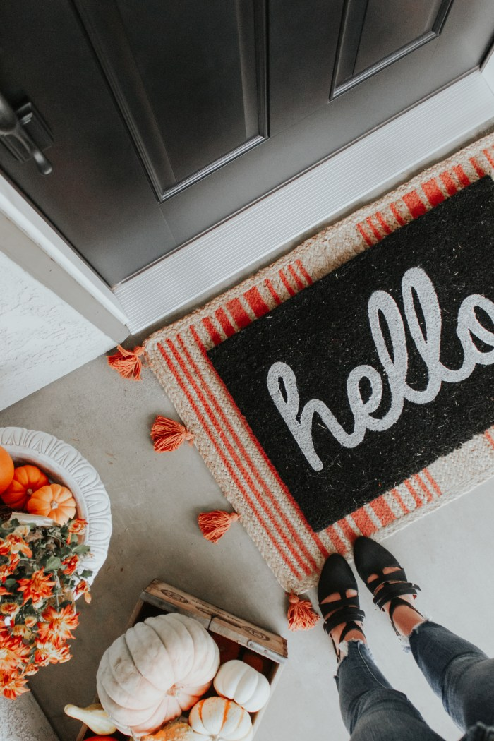 Fall Front Porch Decor Ideas + Farmhouse Style Door Reveal