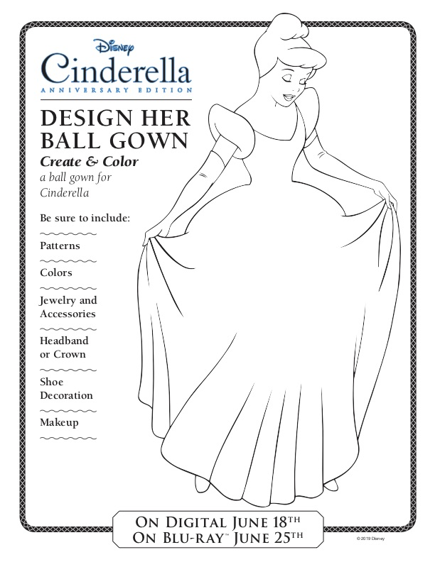 Cinderella Activity Sheet, Design Your Own Ball Gown