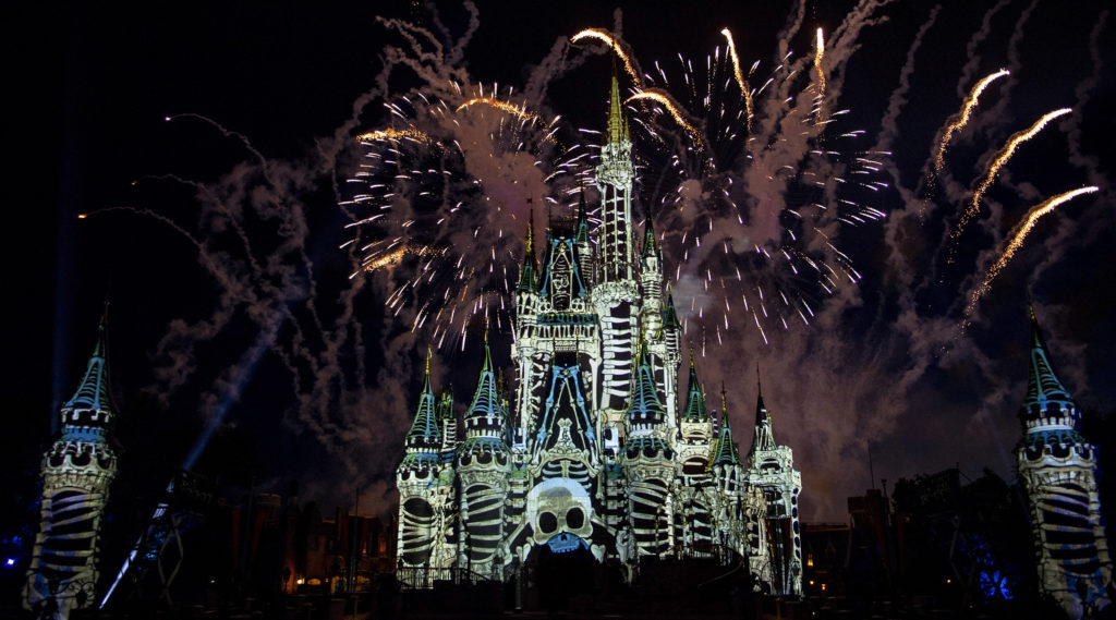 """The new """"Disney's Not So Spooky Spectacular"""" at Magic Kingdom Park invites guests to embark on a hair-raising Halloween adventure with Mickey Mouse, Minnie Mouse, Goofy and Donald Duck. With Jack Skellington from Tim Burton's """"The Nightmare Before Christmas"""" as host, this spellbinding display of state-of-the-art projection effects, lasers, lighting and dazzling fireworks will delight guests during Mickey's Not-So-Scary Halloween Party, a separately ticketed event held on select nights Aug. 16-Nov. 1, 2019, at Walt Disney World Resort in Lake Buena Vista, Fla."""
