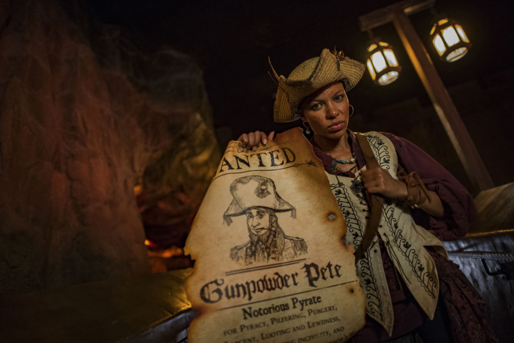 "For the first time, live pirates invade Pirates of the Caribbean during Mickey's Not-So-Scary Halloween Party at Magic Kingdom Park. A new story line for the attraction allows guests to join the pirates in a search for the rogue Gunpowder Pete. This is just one of the many fun new experiences guests enjoy during the family-friendly nighttime event. The specially ticketed evening includes trick-or-treating, greetings with favorite characters in Halloween costumes, ""Happy HalloWishes"" fireworks display and ""Mickey's Boo-to-You Halloween Parade."" Mickey's Not-So-Scary Halloween Party takes place select nights Aug. 17- Oct. 31 at Walt Disney World Resort in Lake Buena Vista, Fla."