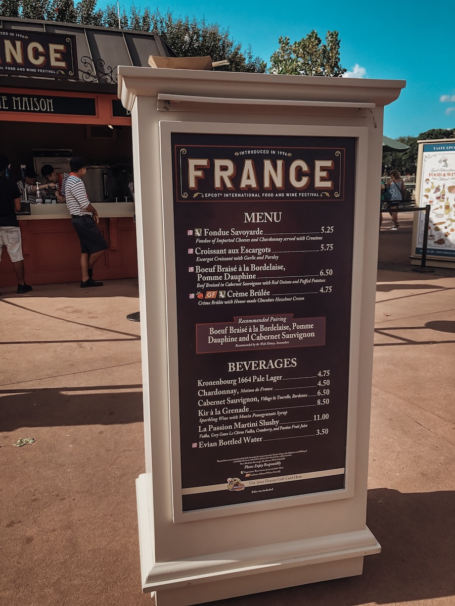 Epcot International Food and Wine Festival Menu