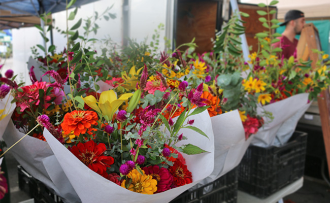 fresh flowers at the farmers market