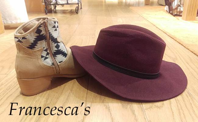 booties and floppy hat from francesca