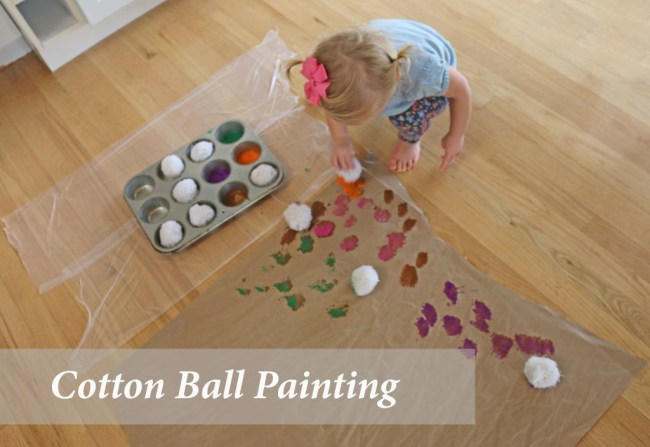 10 indoor play ideas: cotton ball painting craft