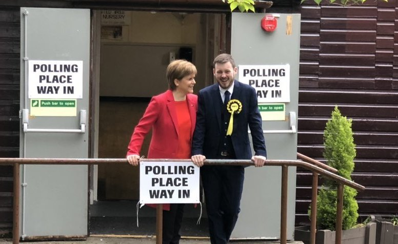Alex Kerr with Nicola Sturgeon, when he was one of six SNP candidates for the 2019 European Election