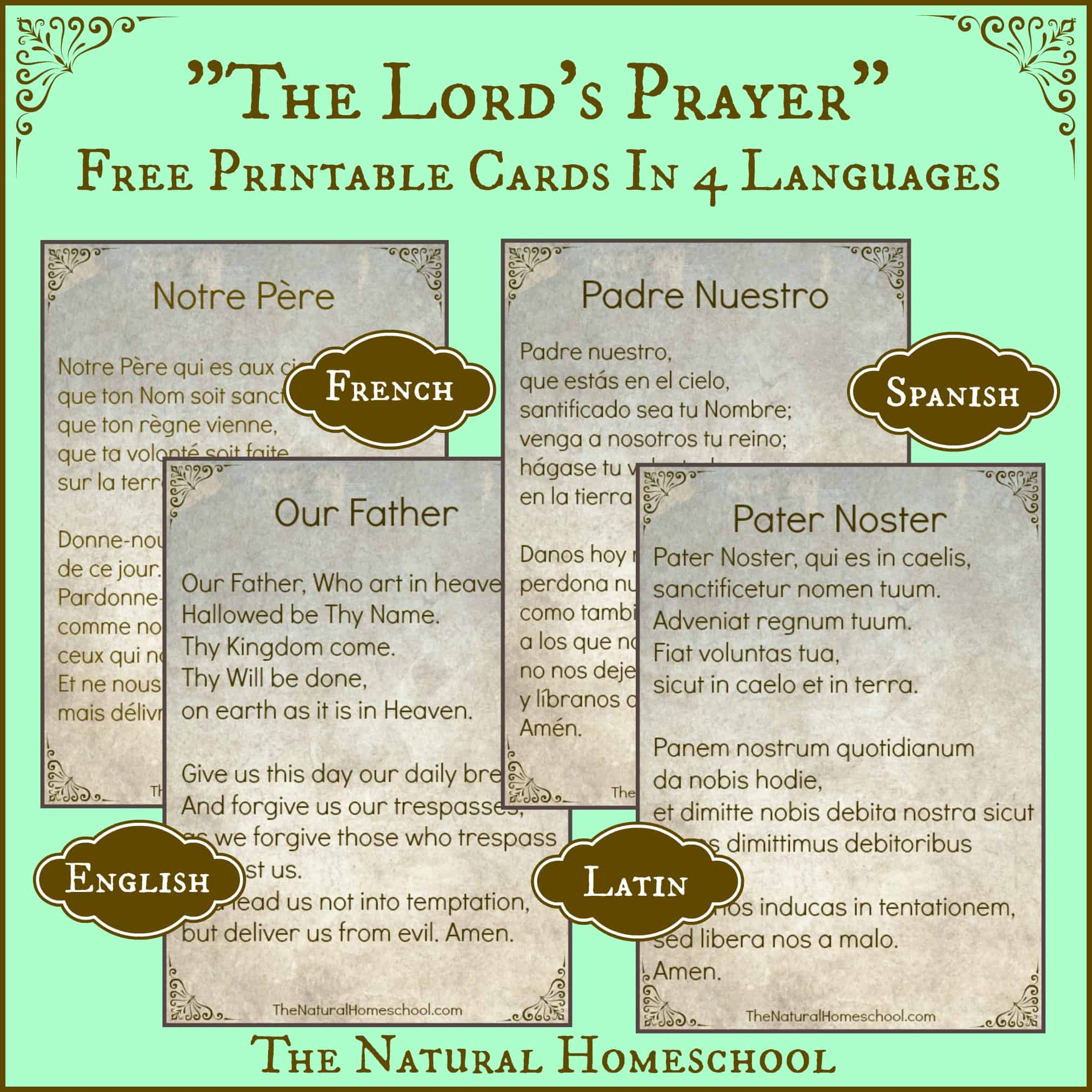 The Lord S Prayer Words In Spanish Latin English And French Free Printable