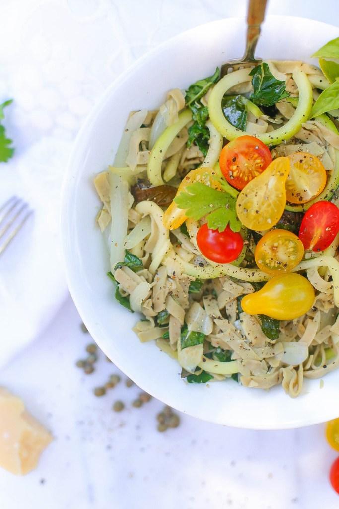 artichoke edmame & mung bean noodle pasta