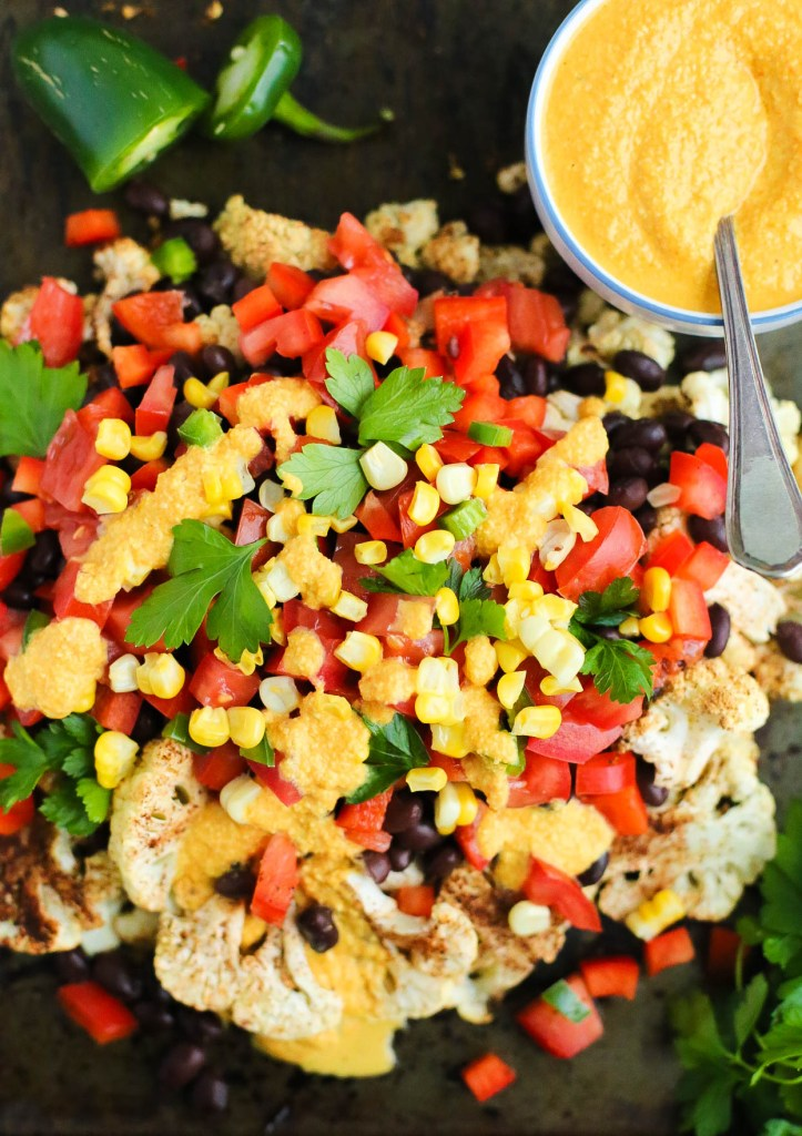 cauliflower, dairy free, dinner, everyday meals, gluten-free, healthy recipes, low-calorie, nacho's, vegan, vegetables, vegetarian, cashew quest