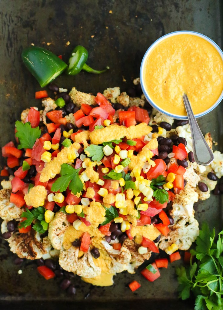 cauliflower, dairy free, dinner, everyday meals, gluten-free, healthy recipes, low-calorie, nacho's, vegan, vegetables, vegetarian