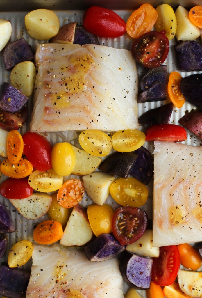 one pan, cod, baked, vegetables, 30 minute