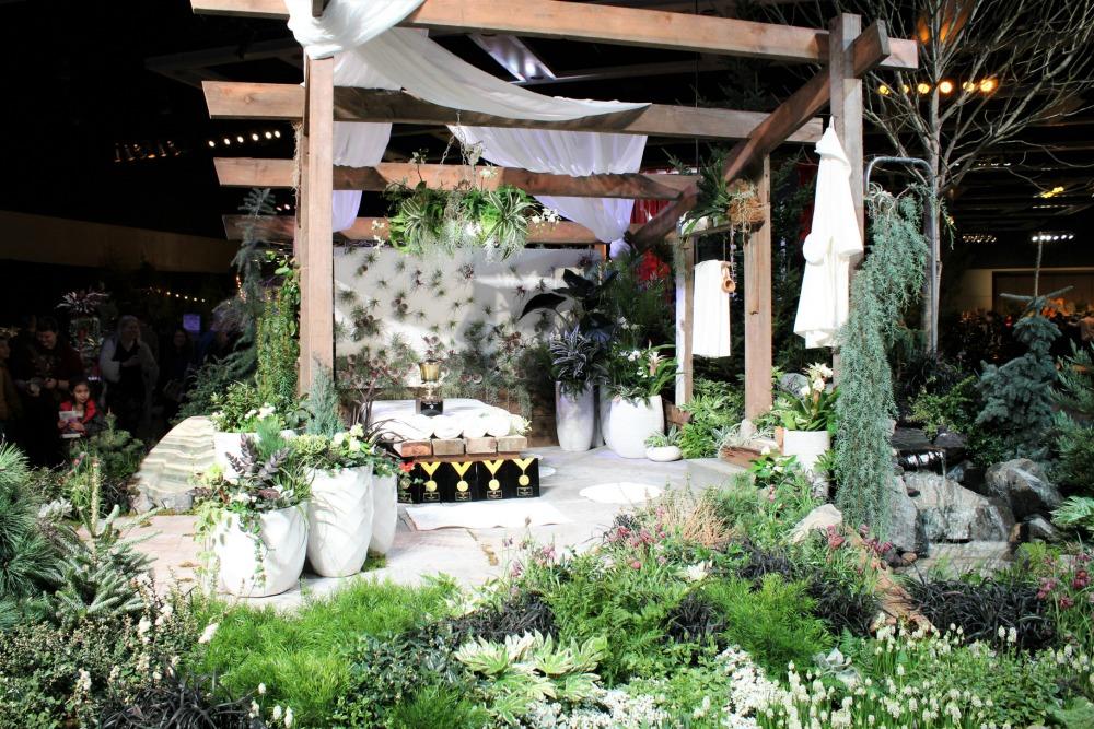 pergola display with white flowers