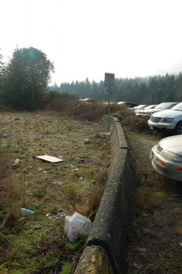 Garbage around the College Dr. roadway includes coffee cups, food and beverage containers, as well as dumped household trash. Photo by Luke Bowles